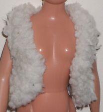 VINTAGE Barbie/Sindy bianco sporco PELLICCIA Gilet Giacca