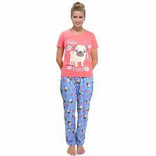 Ladies Cotton Jersey Short Sleeve Print Pyjamas Sets Nightwear Sizes 8-22 Emoji S 8-10 Ln541k Pugs & Kisses PJ Set