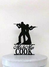 Personalized Wedding Cake Topper - Rifle, Gun wedding with Mr & Mrs Last Name