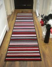 "Element Hall Striped Runner Rug Red, Black 60 x 220 cm (2' x 7'3"") Carpet"