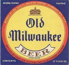 Old Milwaukee Beer bottle label, IRTP, Schlitz, Wisconsin, Richmond, VA, 1930s