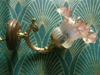 French Art Nouveau-brass wall sconce with petal shade-Working-great design