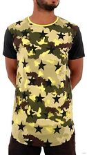 Time Is Money Mens Boys Army Camouflage Star Long Hip Hop Tee Shirts Club LYelow