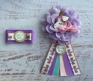 Unicorn Baby Shower Corsage Set , Mommy/ Daddy To Be Corsage Set