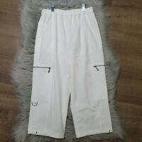 Chico's Womens Cropped Crop Pull On Pants White Pockets Cargo Athletic 0 Small