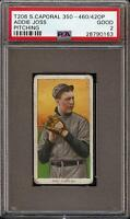 1909-11 T206 HOF Addie Joss Pitching Sweet Caporal 350-460 Cleveland PSA 2 GD