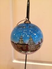 Hand Painted Glass Liverpool Skyline Bauble Blue New
