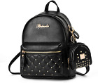 Cute Small Backpack Mini Purse Casual Daypacks Leather for Teen and Women Black