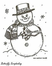 Snowman And Cardinal, Wood Mounted Rubber Stamp NORTHWOODS - NEW, M9684