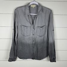 Cloth & Stone Womens Gray Ombre Size Large Long Sleeve Button Down Top