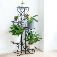 5 Tier Tall Decorative Solid Metal Flower Rack Plant Stand Potted Display Shelf