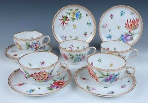 5 French HP Limoges Porcelain Cups & Saucers BUTTERFLIES Dresden Flowers & Gold
