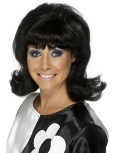 Black 1960's Groovy Flick-Up Wig Adult Womens Smiffys Fancy Dress Costume