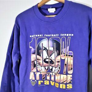 Vintage 90s Baltimore Ravens TAZ Sweatshirt NFL Warner Bros USA Youth L Mens S