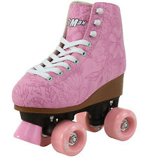 Quad Roller Skates for Girls and Women Size 8 Adult Pink Flower Outdoor Derby