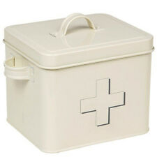 FIRST AID BOX STORAGE MEDICAL KIT TIN LID CONTAINER NEW MEDICINE CABINET RETRO
