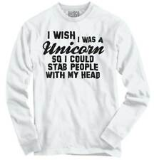 Wish I Was A Unicorn Funny Magical Gift Idea Long Sleeve Tshirt Tee for Women