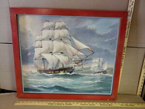 William Frederick Mitchell Naval / Merchant ship LITHO on CANVASS Framed #2