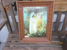 VINTAGE 3-D LENTOGRAPH PICTURE OF JESUS KNOCKING ON  DECORATIVE  FRAME date 1969