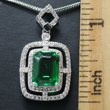 Green Emerald Moissanite Halo Necklace Women Wedding Engagement Birthday Jewelry