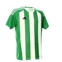 Adidas Herren Shirt Gr. M Sport Trikot Grün Weiß Gestreift Fußball Kurzarm