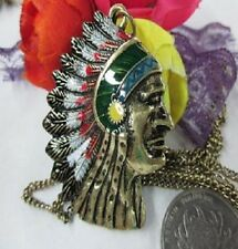 Vintage style enamel native American with feather headdress necklace