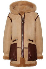 NEW ACNE STUDIOS Lorin hooded leather and shearling-trimmed suede coat IN  DK 38
