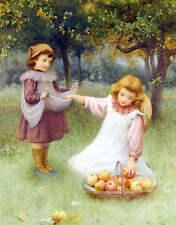 Children Gathering Apples  by William Affleck vintage art