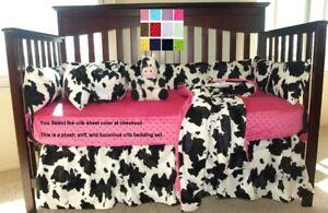 Cow Print Cowboy Style Baby Bedding Western Crib Bedding Set
