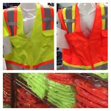 Wholesale Lot Of 12 Bordered Reflective Tape/High Visibility Safety Vests S-4X