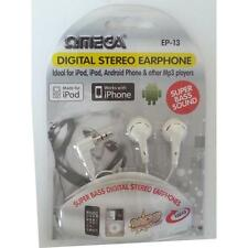 Omega 10013 Digital Stereo In Ear Headphones Super Bass Silver Plated Plug White