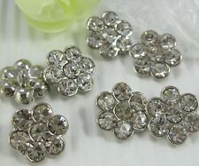 8 Sparkling 14mm Clear Glass Rhinestone Flower Metal Shank Buttons N056