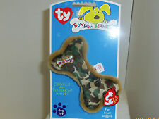 TY Bow Wow Beanie Babie patriotic Camouflage print 5.5in bone squeaker dog toy