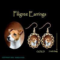 Lakeland Terrier Jewelry Gold Dangle Scene Earrings