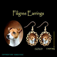 Jack Russell Terrier Dog Smooth Fawn - Gold Filigree Earrings Jewelry