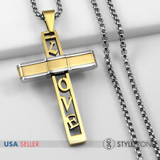 Unisex Stainless Steel Golden Love Letter Cross Pendant w Smooth Box Necklace 1D
