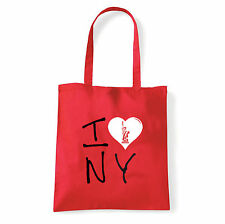Art T-shirt, Borsa shoulder I Love NY, Rossa, Shopper, Mare
