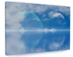 Moon Planets Seascape Canvas Picture Print Wall Art C399
