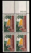 US USA Sc# 1122 MNH FVF PLATE # BLOCK Conserve Forests Pine Tree Deer Bark