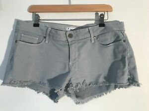 PAIGE dusty blue frayed hem denim stretchy shorts Size 30 / UK 12 Excellent £180