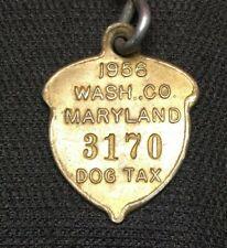 VINTAGE 1956 Dog Tag License Tax Registration WASHINGTON COUNTY MARYLAND W/CHAIN