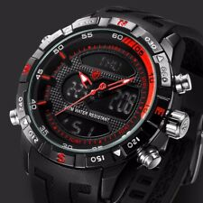 Shark SH598 Men's LCD & Analog Black Silicone Stainless Dual Time Backlit Watch