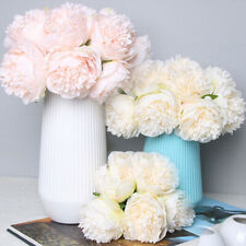 Artificial Bouquet 5 Head Peony Silk Flowers Fake Bridal Wedding Party Decor