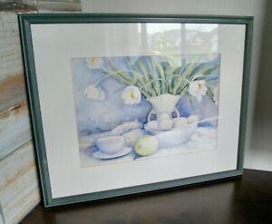 Katherine Sullivan 2003 Still Life Watercolor Painting TULIPS & EGGS Framed