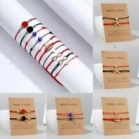 2PCS Natural Stone Braided Rope Bracelet Bangle Friendship Couple Card Jewellery