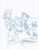 Harley and Joker Convention Blue Line Sketch by Batman Animator-Art Drawing 3
