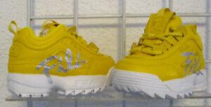 Fila Girl/Boy Disruptor II Script Sneakers, New Yellow White Walking Shoes Sz 6