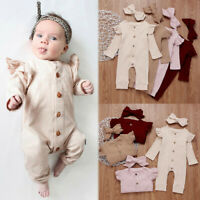 Newborn Baby Girl Clothes Knitted Romper Jumpsuit Bodysuit Headband Outfits Set