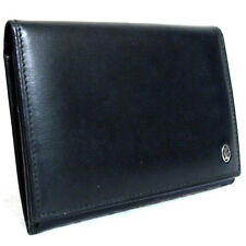 Authentic Cartier Logo Bifold ID Name Card Case Black Leather Vintage Spain T7
