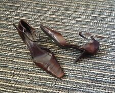 JANE SHILTON BROWN LEATHER CLOSED TOE ANKLE STRAP HIGH HEEL SHOES SIZE UK 3
